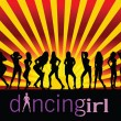 Dancing girl black silhouette — Stock Vector
