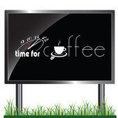 Cartellone con tempo per illustrazione di caffè — Vettoriale Stock