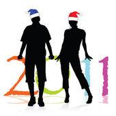 Kilka czapki do ilustracji wektorowych nowy rok — Zdjęcie stockowe