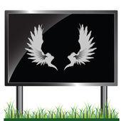 Angel wings on billboard vector illustration — Stock Photo