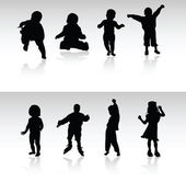 Babies and children vector silhouettes — Stock Photo