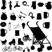 Baby buggy and stuff vector silhouettes — Stock Photo