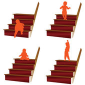Baby climbs the stairs illustration — Stock Photo