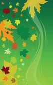Fondo verde con hojas ilustración vectorial — Foto de Stock