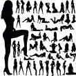 Sexy girls group vector silhouettes — Stockfoto