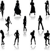 Sexy girl action vector silhouettes — Stock Photo
