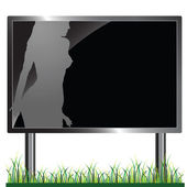 Sexy girl on billboard vector silhouettes — Stock Photo