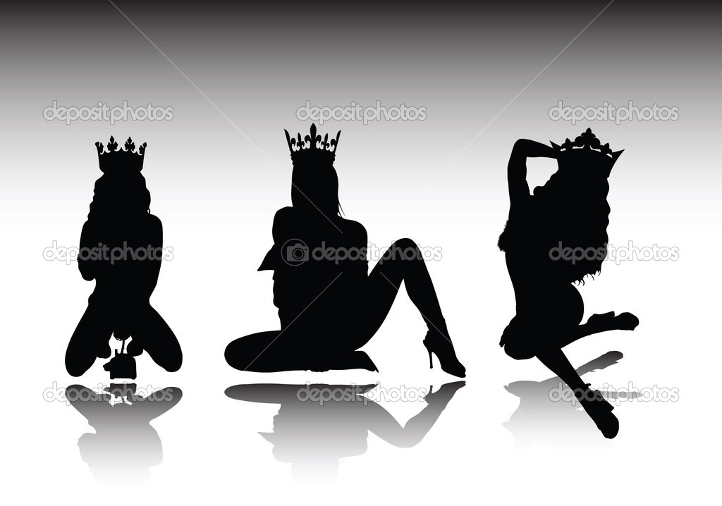 Sexy queen vector silhouettes — Stock Photo #5896461