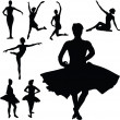 Ballet girl vector silhouettes — Stock Photo