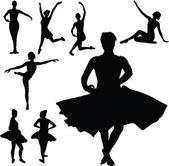 Silhuetas de vetor de garota de balé — Fotografia Stock