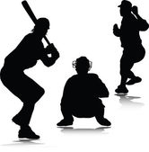 Baseball sport man vector silhouettes — Stock Photo