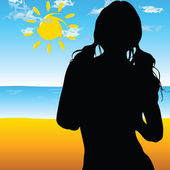 Beautiful silhouette girls on the beach illustration — Stock Photo