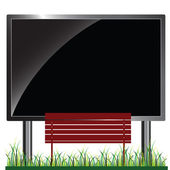 Bench in front of billboards vector illustration — Stock Photo