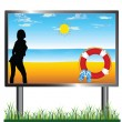 Billboard beach illustration — Stock Photo