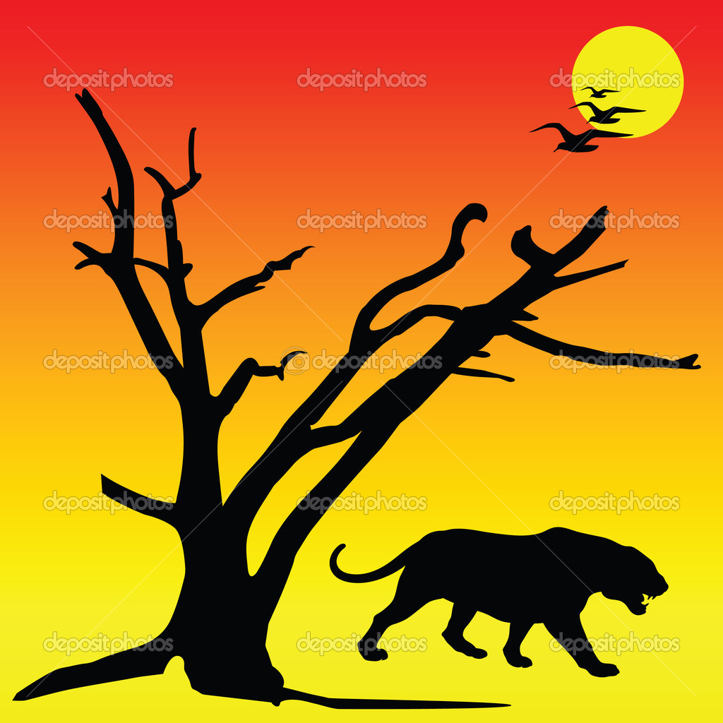 Black panther vector silhouettes  Stock Photo #6043604