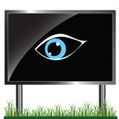 Blue eye on the billboard vector illustration — Stock Photo