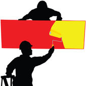 Board painted with two workers illustration.jpg — Stock Photo