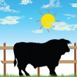 Bull on the farm vector illustration — Stock Photo
