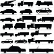 Stock Photo: Car and truck vector silhouettes