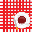 Stock Photo: Cup of coffee on red background