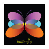 Butterfly color vector illustration on black background — Stock Photo