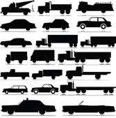 Car and truck vector silhouettes — Stock Photo