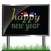 Happy new year on a billboard — Stock Photo