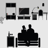 夫妇享有其家具 — 图库照片
