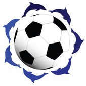 Beauty dolphins around the soccer ball — Stock Photo