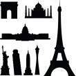 Famous buildings vector silhouettes — Photo