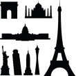 Famous buildings vector silhouettes — Stock Photo #6447291