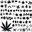 Stock Photo: Marijuanplants vector silhouettes