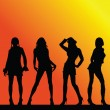 Sexy and hot girls vector silhouette on color background — Stock Photo