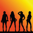 Sexy and hot girls vector silhouette on color background - Stock Photo