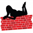 Beauty girl and beauty red brick wall — Stock Photo