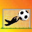 Defending goal keeper safe — Foto Stock
