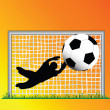 Defending goal keeper safe — Stock fotografie