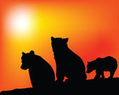 Enjoyment of the three bears vector silhouettes — Stock Photo