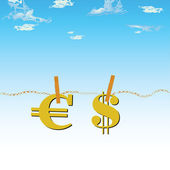 Euro and dollar in the air vector illustration — Stock Photo
