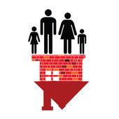 Famiglia e la loro illustrazione vettoriale casa di sogno — Foto Stock