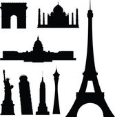 Famous buildings vector silhouettes — Stock Photo