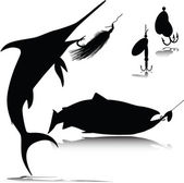 Fish and hook vector silhouettes — Stock Photo