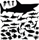 Fish vector silhouettes — Stock Photo
