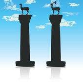 Two deer instead of the Colossus of Rhodes — Stock Photo