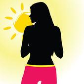 Chica en shorts rosa disfrutando del mar — Foto de Stock