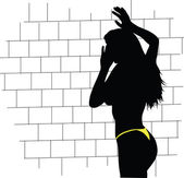 Hot girl front of the brick wall — Stock Photo