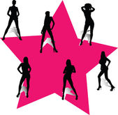 Girls in the pink star — Stock Photo