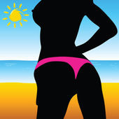 Illustrations girl on the beach — Stock Photo