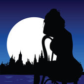 Beautiful girl sit on a chair on the moonlight — Stock Photo