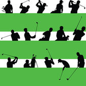 Multitude of golfers who play golf — Stock Photo